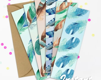 Feather Bookmarks Feather Bookmark Printable Bookmarks Printable Bookmark Bookmark Bookmarks Blue Bookmarks Green Bookmarks Bookmarks Set
