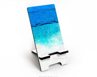 iPhone 6S Plus Stand, Concrete Floral Print Stand, iPhone 6S Stand, Teal Mint Floral Print Docking Stand Samsung, Smartphone Stand I153