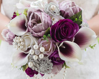 Custom Silk Flower Bouquet, Brooch Bouquet, Eggplant Lavender, Peony Calla Real Touch Artificial Bouquet, Bridal Bouquet, Faux Bouquet