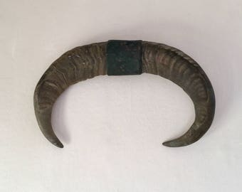 Large and genuine water buffalo horns mounted on a copperband. Antique taxidermy. Game trophy.