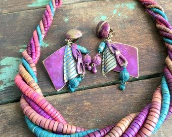 Vintage Jewel TOne  Beaded wood necklace and earring set Boho Big 80's
