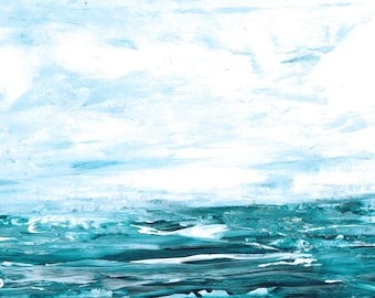 Cloudy seascape in 5x7 mat, beach house decor, minimalist monochromatic and moody original ocean painting