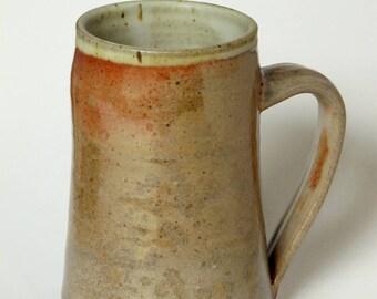"""Large stoneware mug with traditional """"shino"""" glaze - approximately 16oz (pint)"""