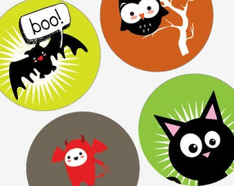 Adorable Halloween Critters - One (1x1) Inch (25mm) Round Pendant Images - Digital Collage Sheet - Buy 2 Get 1 Free - Instant Download