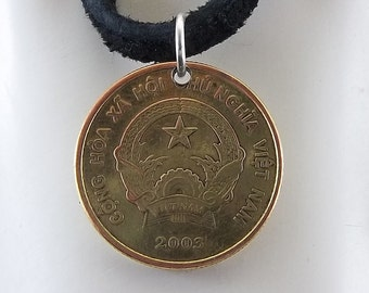 2003 Vietnamese Coin Necklace, 1000 Dong, Mens Necklace, Womens Necklace, Coin Pendant, Leather Cord