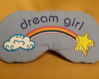 Embroidered Eye Mask for Sleeping, Cute Sleep Mask for Kids or Adults, Sleep Blindfold, Slumber Mask, Rainbow, Dream Girl Design, Handmade