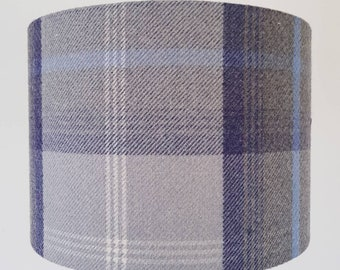Country Tweed Check Wool Fabric Lampshade in Balmoral Oxford Blue