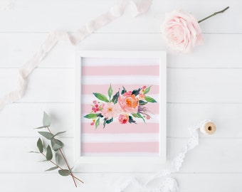 PRINTABLE Art Pink and White Floral Watercolor Stripe Floral Stripe Nursery Decor Floral Art Print Floral Wall Art Home Decor Pink Floral