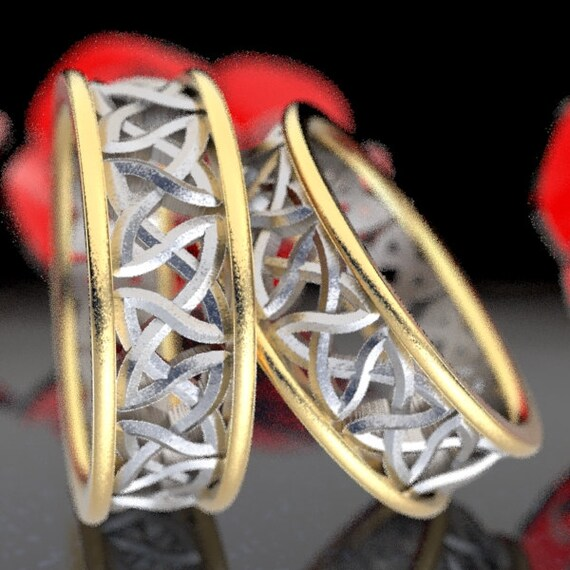Gold Bi-Color Wedding Ring Set Cut-Through Celtic Woven Knotwork Design in 10K 14K 18K Gold, Palladium or Platinum, Made in Your Size CR-37