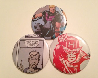 Hawkeye/Clint Barton Comic Book Button 3 pack