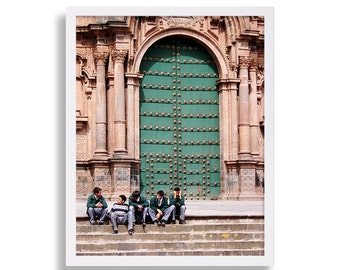 Travel Photography Art Print Cusco Peru Photo Green Door Art Green Print People Photography City Art South America Photography Photo Wall