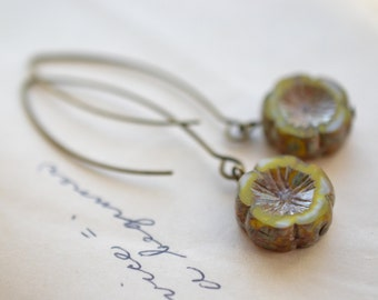 Yellow/Green Antique Earrings, Czech Glass Beads, Brass, Neo Vintage Jewelry
