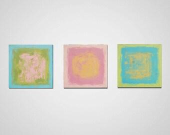 3 Piece Wall Art, Abstract Painting, Handmade Acrylic Painting