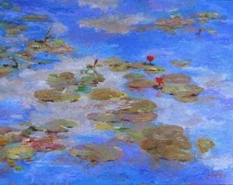"Water Lilies VIII-Garland Fulghum-Impressionism-18""x24"""