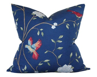 Sapphire Blue Chinoiserie Designer Pillow Cover - Custom Made-to-Order - Floral Decorative Pillow for Bed