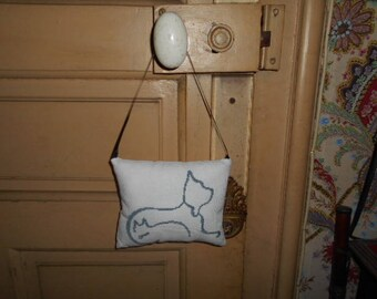 dog and cat - hand embroidered door pillow