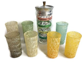 7 Vintage 1950-60's Color Craft Spaghetti String Tall Tumblers Glasses, Retro wedding, Mad Men barware, hipster, Mid Century Modern MINT