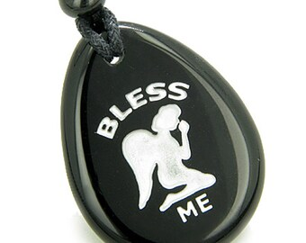 Bless Me Praying Guardian Angel Amulet Black Agate Pendant Necklace