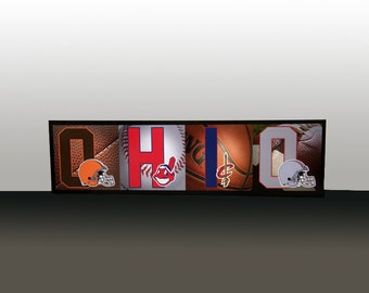 """Ohio Sports Letters Presented on an Art Box Frame 9.5x35.5"""""""