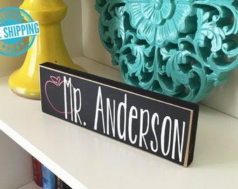 Personalized Teacher Block- Teacher Gift, Classroom gift, Classroom Decor, Teacher apple block, Teacher wood block, Teacher name plate