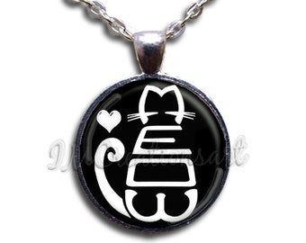 Meow Cat Word Art Glass Dome Pendant or with Chain Link Necklace AN143