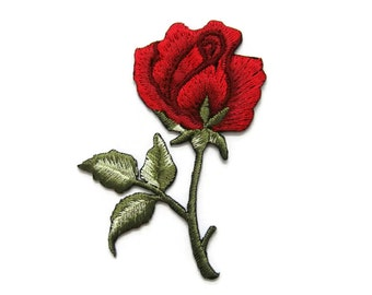 Red Roses Flower Embroidered Applique Iron on Patch 4.8 cm. x 7 cm.