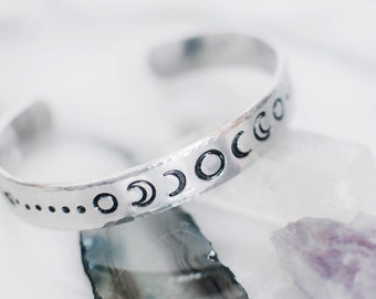 Moon phase bracelet. Moon phases. Celestial bracelet. Hand stamped gift. Moon phase cuff. Silver moon phase cuff. Celestial RTS CA035