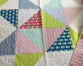 "Rising Star Baby Blanket Quilt 66"" X 66"" Red Yellow Blue Green Aqua Cotton Handmade Pieced Backing"