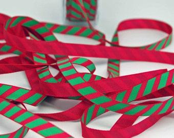 SALE Preppy Pink Green Stripe Ribbon -- 3 / 8 Inch -- Fushia Pink Bright Green Stripe