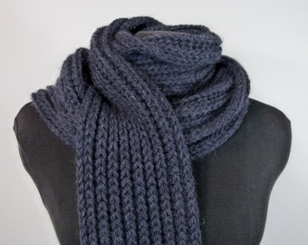 Chunky Hand Knit Unisex Scarf - Extra Warm Wool Scarf in Navy Fisherman's Rib - Item 1426