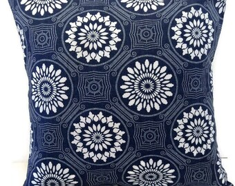 Invisible Zipper Pillow Cover-Dark Blue and White-10 Sizes Available-Throw Pillow, Cushion Cover, Couch Pillow Cover, Decorative , Lumbar