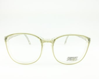 Vintage 1980s Oversize Round Clear Grey Eyeglass Frame - Anything