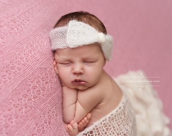 Cream Wide Bow Mohair Headband Newborn Photography