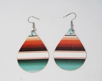 Leather Earrings - Volcano Sunset - Teardrop Leather Earrings - Serape Leather Earrings - Small Teardrop Earrings