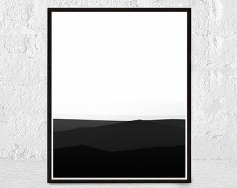 Mid Century Modern Art, Large Abstract Wall Art, Mountains Landscape Print, Oversized Art, Giclee Print, mountains art print, black white