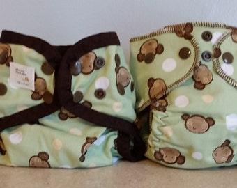Preemie Newborn Cloth Diaper & Diaper Cover Set-  4 to 9 pounds- Monkey's on Green- 29024