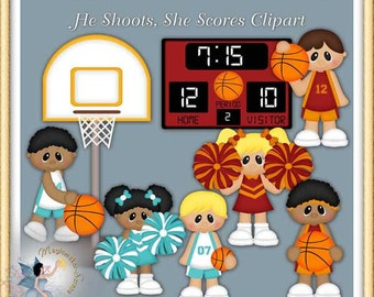 Basketball Clipart, Cheerleader, Sports, He Shoots, She Scores