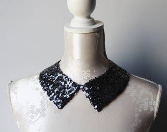 Steel grey collar necklace with sequins pointed shape detachable accessories for women removeable peter pan collar sequined collar classic