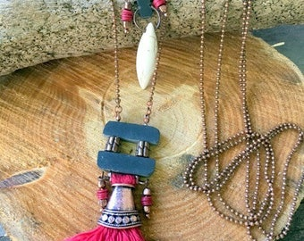 Necklace in Slate and copper FAS38