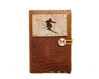 Small Leather Journal with Skier in Whiskey Ember