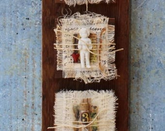 """Assemblage Found Objects Mixed Media Shrine """"Fragments of Life"""""""