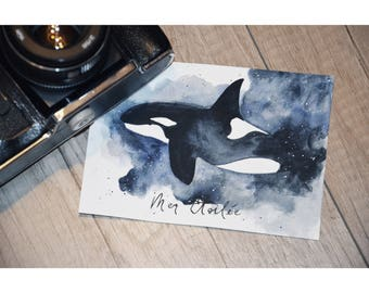 Watercolor Orca and starry sky card