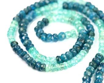Apatite Micro Faceted Rondelles 6 Neon Blue Caribbean Aqua Semi Precious Gemstone