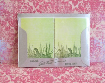 Vintage Gwen Frostic Note Cards and Envelopes - Turtle
