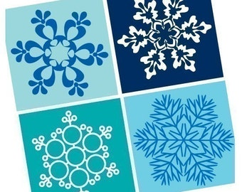 Amazing Snowflakes - One Inch (25mm) pendant Images - Great for Magnets, Glass tiles - Buy 2 Get 1 Free - Instant Download - Printable Image