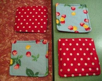 Drink Coasters - Set of 4 - Cherries on Blue
