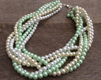 Pearl Necklace Green Ivory White Statement Bridal Necklace Six Strand Braided Cluster on Silver or Gold Chain