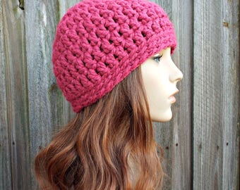 Raspberry Pink Beanie - Pink Crochet Hat Pink Womens Hat Pink Mens Hat - Warm Winter Hat - Pink Hat - READY TO SHIP