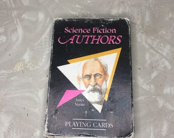 COMPLETE Science Fiction Authors Playing Cards - 1991 Vintage - Whole - Verne Bradbury Asimov Wells Lewis Tolkien Heinlein