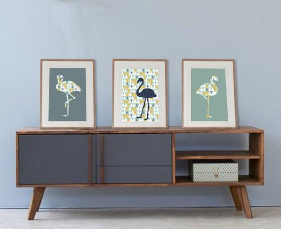 3 affiches scandinaves avec flamants roses tendances poster. Black Bedroom Furniture Sets. Home Design Ideas